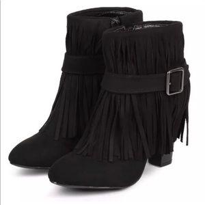 Cute Black Fringe Ankle Boot